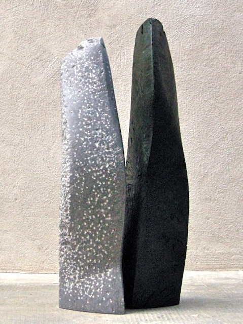 Two of a kind, 2010, Limestone, stained walnut, height 65 cm