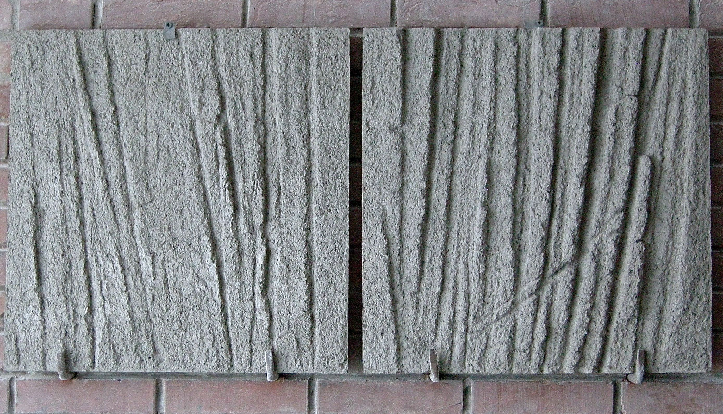 Vertical structure II, 2016, two-piece relief, concrete, 55 x 100 cm